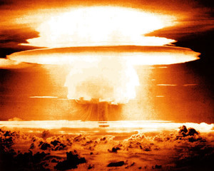 Castle Bravo atomic explosion in the Marshall Islands.